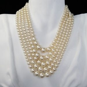 Vintage Faux Pearl Multi Strand Necklace Japan